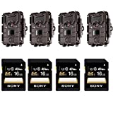 Set Of 4 Bushnell Trophy Cam HD Aggressor Low-Glow Trail Camera (Brown) + Set of 4 Sony 16GB SDHC Class 10 UHS-1 Memory Card