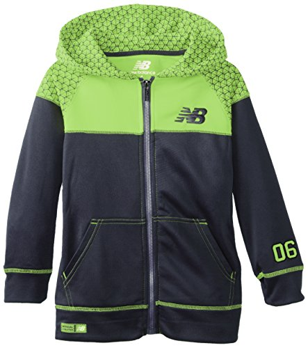 New Balance Little Boys' High Tech Poly Fleece Color Block And Printed Tricot Jacket, Classic Navy, 5/6