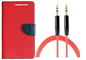 Novo Style Wallet Case Cover For Micromax A114 Canvas 2.2 Red + 3 feet Slim 3.5mm Music Record Stereo Audio Auxiliary AUX Cable Cord