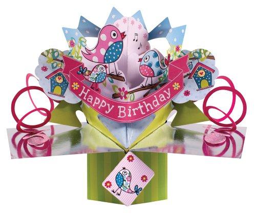 Second-Nature-POP063-Tarjeta-de-felicitacin-para-cumpleaos-diseo-en-3D-con-pjaros-texto-en-ingls-Happy-Birthday