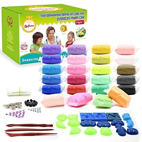 SySrion Air Dry Clay, 24 Colors Ultra Light Modeling Clay Magic Crafts Kit - Eco-friendly Educational DIY Creative Polymer Play Clay - FREE Vegetables & Fruits Modes Included - Best Gift for Children (Air Dry Dough compare prices)