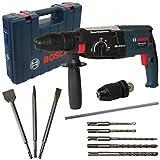 Bosch Bohr-und Meißelhammer SDS-Plus GBH 2-28 DFV 850W 3J im Handwerkerkoffer + SDS Plus Bohrersatz 5tlg + SDS-Plus Meisselset 3tlg. Spitz-, Flach- und Fließenmeißel