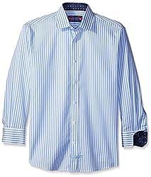 English Laundry Men's Stripe Dress Shirt, White/Blue, 17 32-33