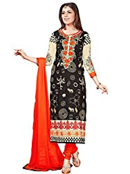 Fashion Queen Presents Black & Cream Colored Unstitched Dress Material