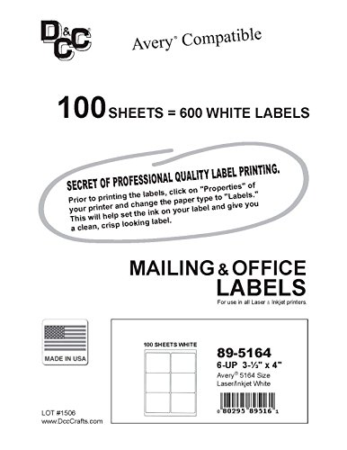 600 labels 6up size 4 x use with template 5164 5264 labels