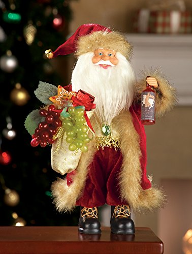Santa Claus Fur Suit Wine Grape Lover Holiday Collectible Figurine Sculpture Decor Christmas Centerpiece Display Table Top Accent Decoration (Centerpieces With Grapes compare prices)