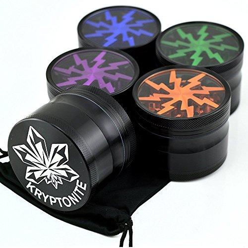 Kryptonite-Grinders-Large-Herb-Tobacco-Spice-Weed-Grinder-Four-Piece-Clear-Top-with-Pollen-Catcher-Lightning-Grinder-Premium-Grade-Aluminum-25-Black