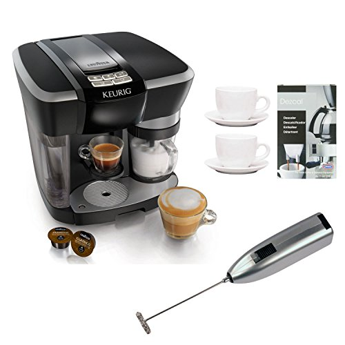 Keurig Rivo 500 Cappuccino & Latte System With Two 3 Oz Ceramic Tiara Espresso Cups And Saucers, Knox Handheld Milk Frother, And Urnex Dezcal Home Activated Coffee/ Espresso Descaler