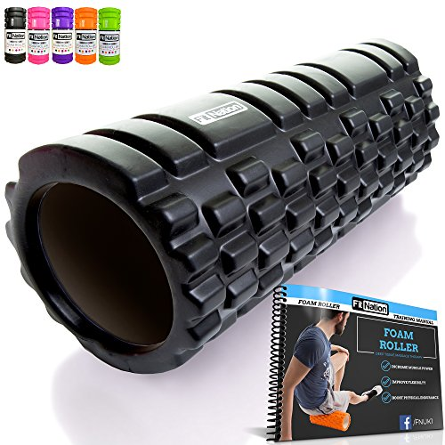 Fit Nation Foam Roller For Deep Muscle Massage - Black