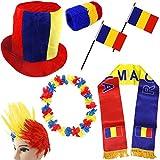 Sonia Originelli Fanpaket Rumänien Romania Fahne Flagge Schal Perücke Blumenkette Zylinderhut Party blau gelb rot RUM-SET-1-XXXL+