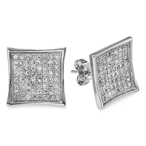 Platinum Plated White CZ Cubic Zirconia Cube Shaped Hip Hop Iced Cube Stud Earrings (13 mm x 13 mm )