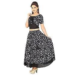 AnjuShree Choice Women's Black Cotton Lehenga Cholis Style Kurta Kurti (Medium)