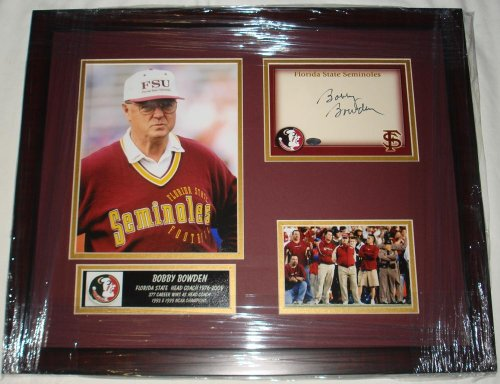 Bobby Bowden Signed Photo - FSU Card Custom Framed Collage - Autographed College Photos