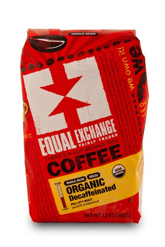 Equal Exchange Organic Coffee, Decaf, Whole Bean, 12-Ounce Bags (Pack of 3) Image