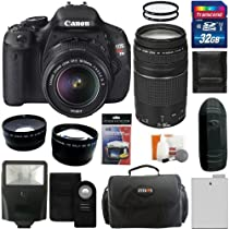 Canon EOS Rebel T3i Digital Camera SLR Kit With Canon EF-S 18-55mm IS II + Canon EF 75-300mm f/4.0-5.6 III Autofocus Lens + 32GB Card and Reader + Wide angle and Telephoto Lenses + Battery + Filters + Accessory Kit
