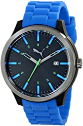 PUMA Unisex PU103612003 Essential Stainless Steel Watch with Blue Band