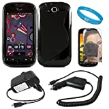 Black Protective Dual Texture Fusion Rubberized Silicone Skin Cover Case for HTC T Mobile MyTouch 4G + Mirror Screen Protector + Rapid Travel Wall Charger + Rapid Car Charger + SumacLife TM Wisdom Courage Wristband