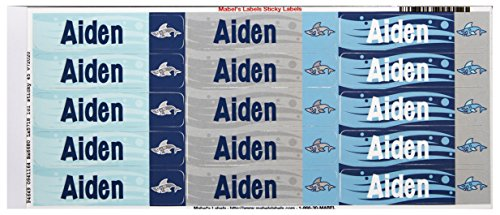 Mabel'S Labels 40845003 Peel And Stick Personalized Labels With The Name Aiden And Shark Icon, 45-Count front-707193