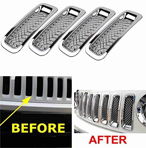 FMtoppeak Set Silver Front Grille Trims Kit Grill Insert Covers For 2011-2016 Jeep Patriot (2014 Jeep Patriot Grill Insert compare prices)