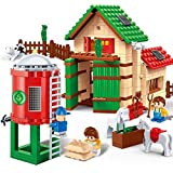 P&R Kids 328pc Happy Farm Creative Diy Educational Toys Building Block Set Best Gift For Boys And Girls