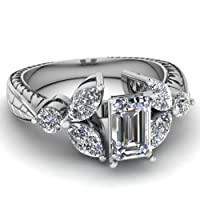 1.5 Ct Emerald Cut Diamond Floral Style Vintage Engagement Ring FLAWLESS GIA 14K from Fascinating Diamonds