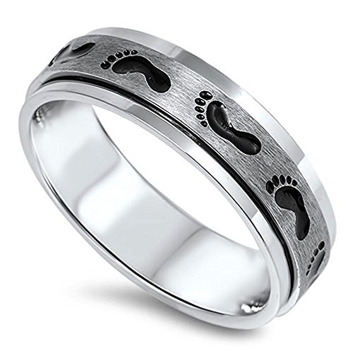 STR-0374 Stainless Steel Foot Print Spinning Band Ring (11)