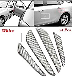 4Pcs White Real Carbon Fiber Car Door Edge Protection Guard Trims Stickers Auto Edge For Fiat Siena New