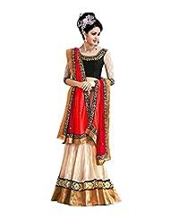 MyStore Fashions White And Black Chicken Net And Heavy Embroidery Elegant Semi Stitched Lehenga (Free Size_White...