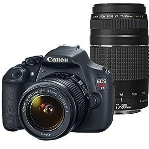 Canon EOS Rebel T5 Digital SLR Camera with EF-S 18-55mm IS II + EF 75-300mm f/4-5.6 III Bundle (Certified Refurbished)