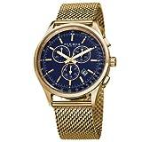 Akribos XXIV Mens Chronograph Blue Dial Gold Mesh Watch AK625BU