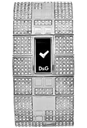 D&G Dolce & Gabbana Women's DW0112 Queen Mary Crystallized Stainless Steel Black Dial Watch