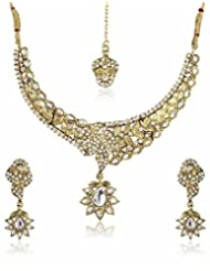 Shining Diva Kundan Stone Necklace Set With Mang Tika - B00N0UJXUU