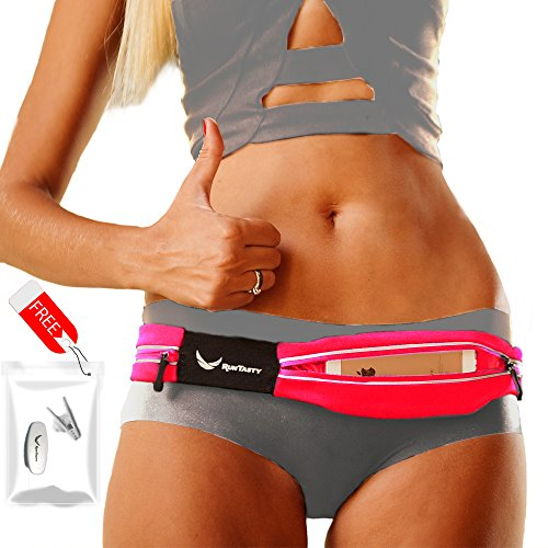 Voted-1-Running-Belt-The-Runtasty-Runners-Fanny-Pack-for-iPhone-5-6-6-Plus-Android-Samsung-No-Bounce-Waterproof-Dual-Pocket-Fitness-Travel-Belt-Sleekest-Most-Durable-in-the-World