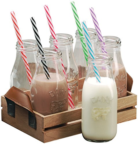 Circleware Dairy Antique Glass Milk Drink Bottles with Strong Reusable Plastic Straws and Wooden Tray, 10 Ounce, 13 Piece Set, 6 Glass Bottles, 6 Straws 1 Wooden Tray, Limited Edition Glassware Serveware Drinkware (Plastic 10 Oz Jar compare prices)
