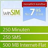 winSIM 1000 [SIM und Micro-SIM] monatlich kündbar (500MB Daten-Flat, 250 Frei-Minuten, 250 Frei-SMS, 7,95 Euro/Monat, 15ct Folgeminutenpreis) O2-Netz