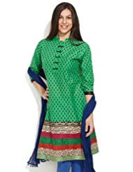 Shree Women's Cotton Green Drop By Drop Stylish Summer Kurta