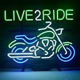 HOZER Professional MOTORCYCLE LOVE 2 RIDE Design Decorate Neon Light Sign Store Display Beer Bar Sign Real Neon Signboard for Restaurant Convenience Store Bar Billiards Shops