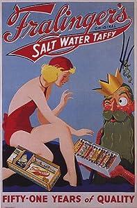 FRALINGERS SALT WATER TAFFY BEACH GIRL ATLANTIC CITY USA LARGE VINTAGE POSTER REPRO