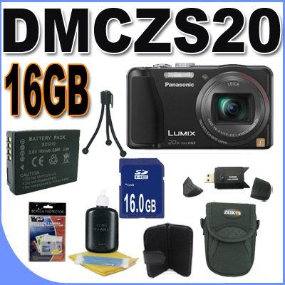 Panasonic Lumix DMC-ZS20 14.1 MP Digital Camera with 20x Wide Angle Optical Image Stabilized Zoom and Built-In GPS Function (Black) Accessory Saver 16GB Bundle Review