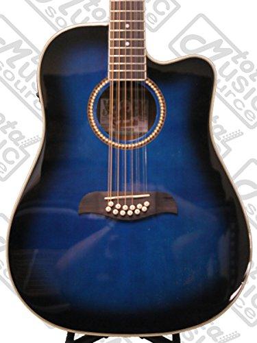 get oscar schmidt by washburn 12 string acoustic electric guitar od312cettbl trans blue at. Black Bedroom Furniture Sets. Home Design Ideas