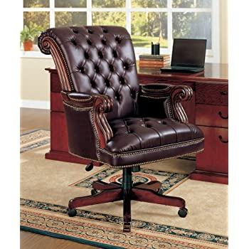 Coaster Traditional Executive Office Chair, Nail head Trim Tufted Back