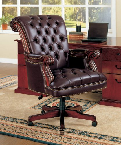 Coaster Traditional Executive Office Chair, Nail head Trim Tufted Back 0
