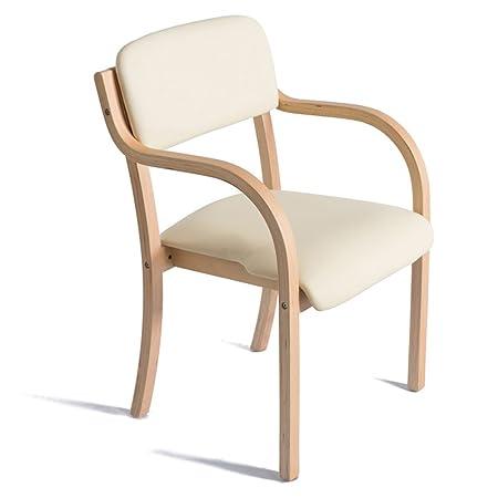 Silla de comedor de madera maciza nórdica, silla de respaldo de barandilla de escritorio, silla de computadora, silla simple simple moderna ( Color : Beige )