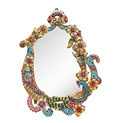 999Store flower handcrafted wooden decorative wall mirror