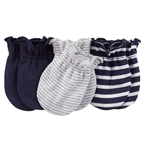 Carters 3-Pack Mittens Navy/Grey 0-3M