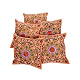 Rajrang Cotton Embroidered Sofa Cushion Cover Set Of 5 Pcs