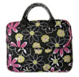 14.1 inch Black Power of Love Flower Pattern Laptop Notebook Carry Case / Briefcase / Shoulder Messenger Bag