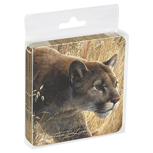 Tree-Free Greetings Set Of 4 Cork-Backed Coasters, 3.75 x 3.75 Inches, Mountain Lion Themed Wildlife Art (52909)