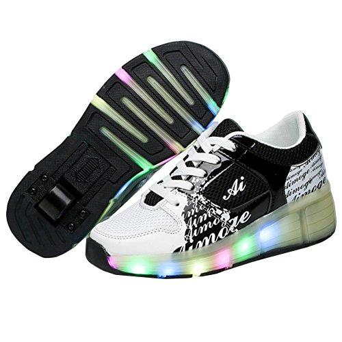 KE Unisex Led Licht Heelys Rädern Pulley Schuhe Skates Sportschuhe (CN38=24cm, Black)