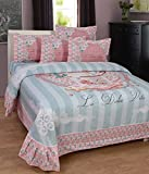 BeautifulHOMES She Cotton Double Bedsheet With 2 Pillow Cover - Pink and Silver
